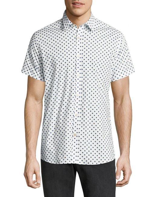 Allover polka dot printed button down shirt in for Button down polka dot shirt