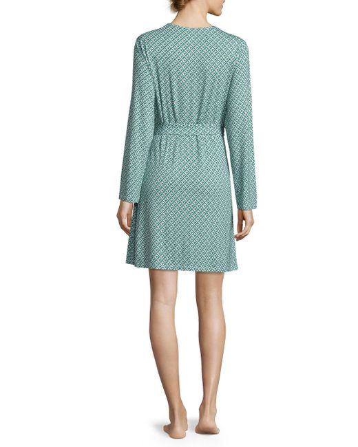 Saks fifth avenue lori diamond printed robe in blue lyst for Saks 5th avenue robes de mariage