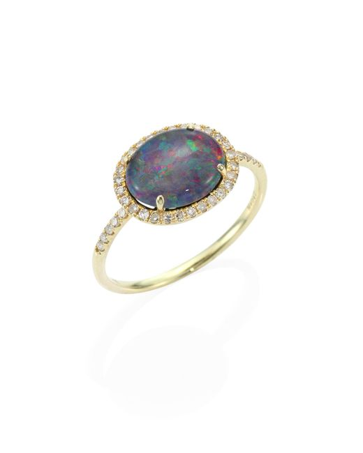 Meira T | Metallic Diamond, Opal Triplet & 14k Yellow Gold Ring | Lyst