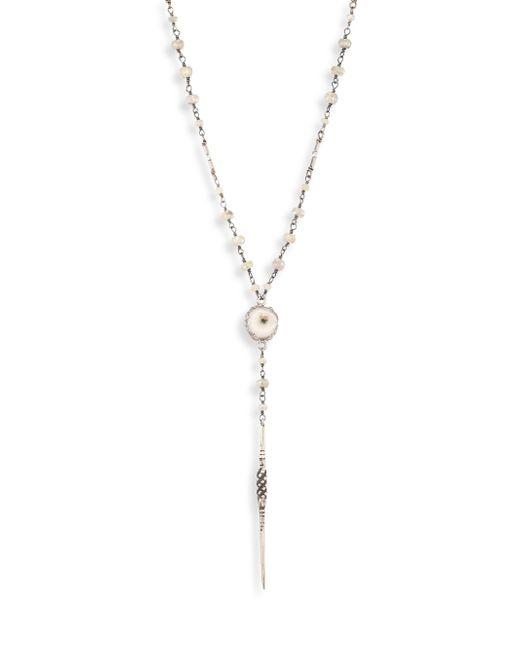 Chan Luu | Metallic Long Sterling Silver & Semi-precious White Mix Lariat Necklace | Lyst
