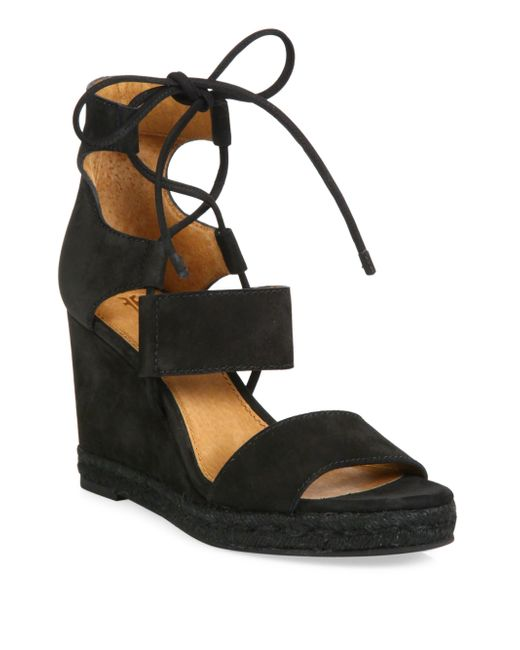 Frye   Black Roberta Ghillie Nubuck Leather Wedge Sandals   Lyst