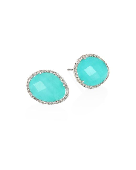 Meira T | Blue Diamond, Turquoise Doublet & 14k White Gold Stud Earrings | Lyst