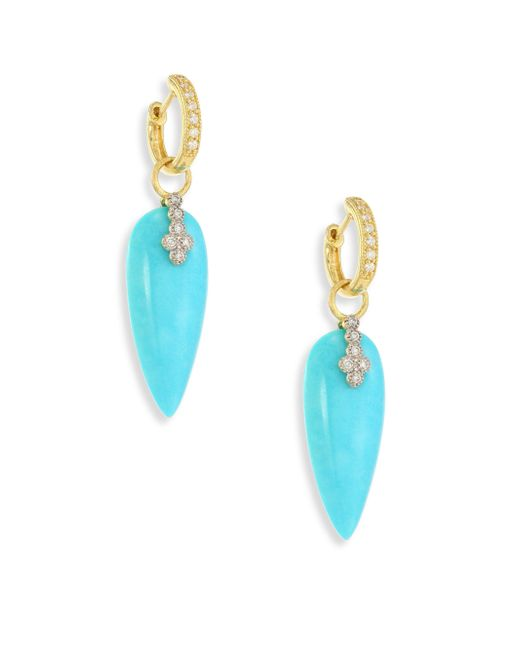 Jude Frances   Blue Provence Champagne Diamond & Turquoise Teardrop Earring Charms   Lyst