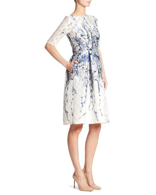 Lela Rose   White Elbow Sleeve Floral Dress   Lyst