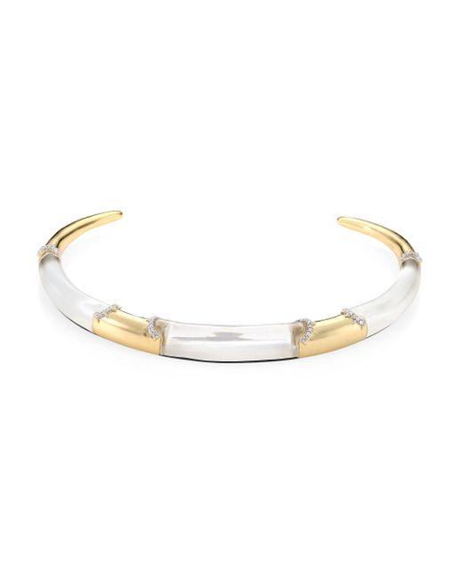 Alexis Bittar | Metallic Lucite Pave Edge Segment Collar Necklace | Lyst