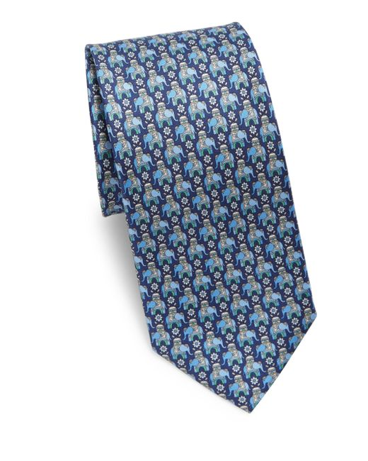Ferragamo | Blue Arabian Elephant Silk Tie for Men | Lyst