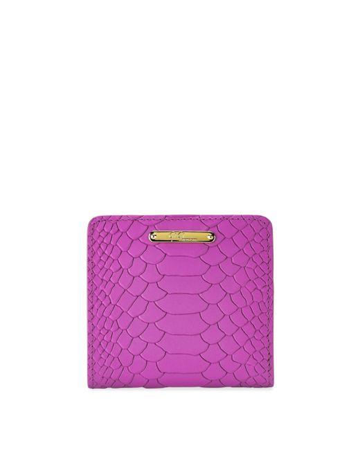Gigi New York | Purple Mini Python-embossed Leather Bi-fold Wallet | Lyst