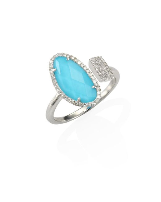 Meira T | Multicolor Diamond & Turquoise Doublet Ring | Lyst