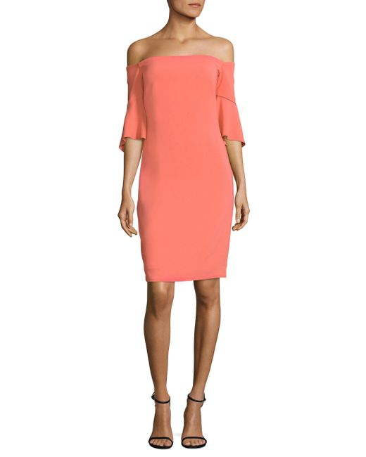 Laundry by Shelli Segal   Pink Off-the-shoulder Bell Sleeve Sheath Dress   Lyst