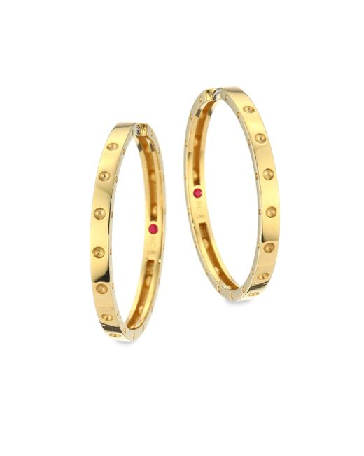 Roberto Coin   Metallic Symphony Pois Mois Large 18k Yellow Gold Hoop Earrings/1.25   Lyst