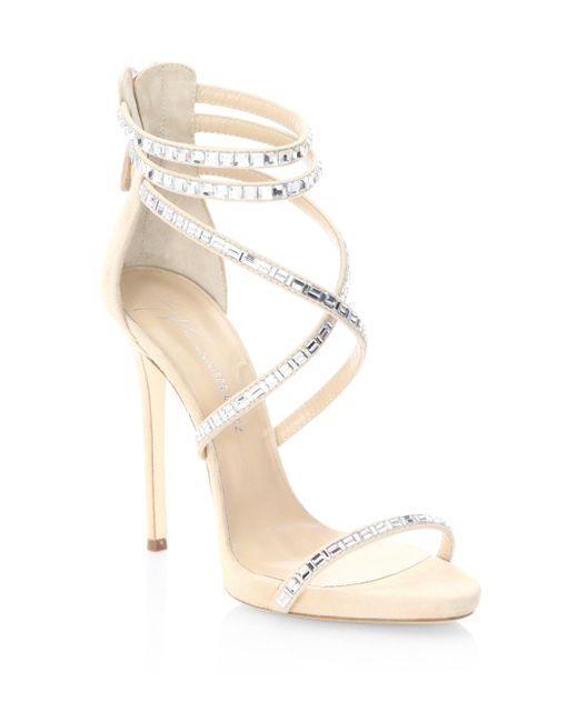 Giuseppe Zanotti | Multicolor Giuseppe For Jennifer Lopez 120 Crystal-embellished Suede Sandals | Lyst