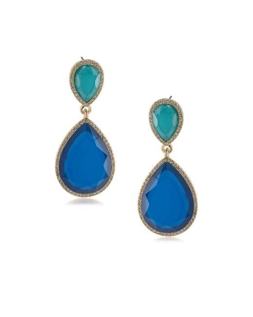 ABS By Allen Schwartz | Blue Double Drop Earrings | Lyst