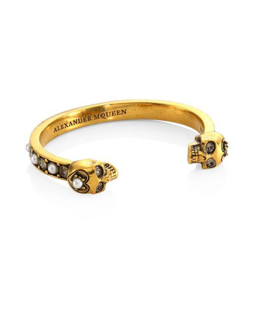 Alexander McQueen | Metallic Pearl & Clear Crystal Bracelet | Lyst