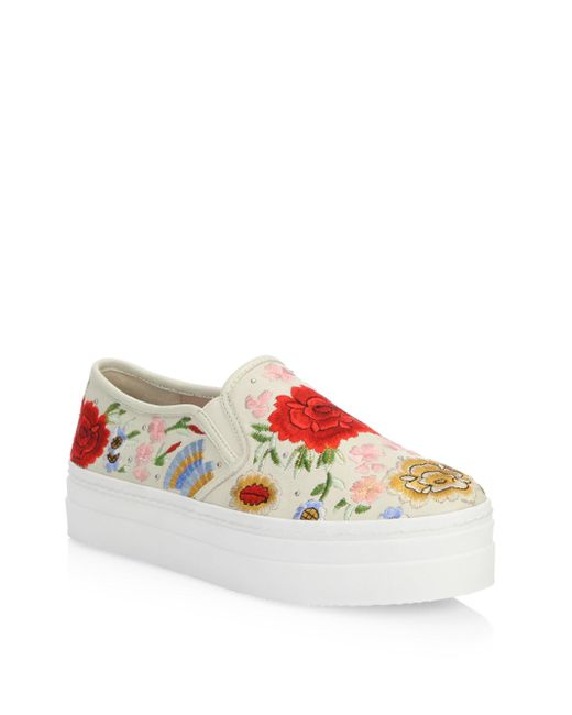 Alice + Olivia | Multicolor Sasha Embroidered Leather Sneakers | Lyst