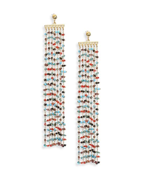 Elizabeth and James | Metallic Emmy Beaded Chain Fringe Earrings | Lyst