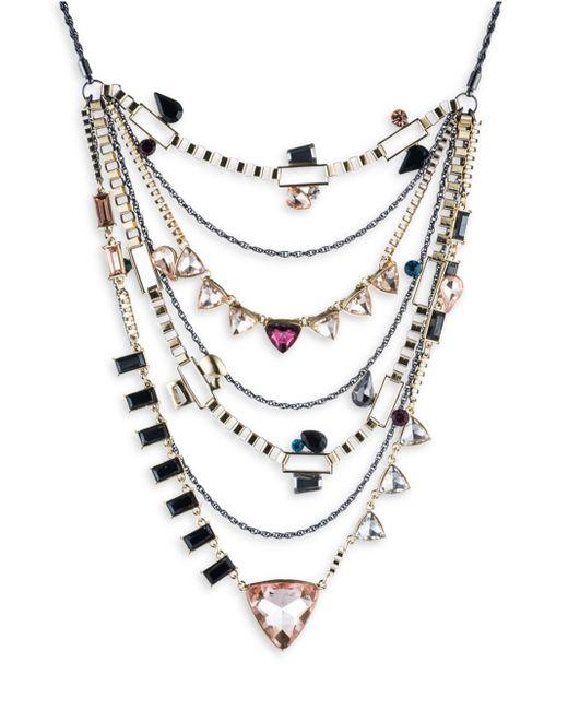 ABS By Allen Schwartz   Metallic Make Me Blush Layered Triangle Necklace   Lyst