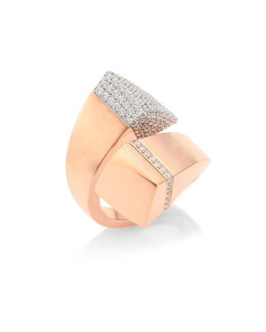 Roberto Coin | Metallic Prive Pave Diamond & 18k Rose Gold Bypass Ring | Lyst