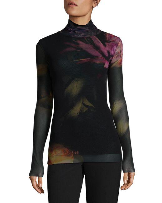 Fuzzi | Black Floral Turtleneck Top | Lyst