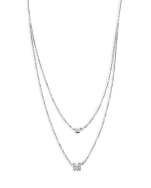 EF Collection   Metallic Diamond Bezel & Initial Pendant Necklace   Lyst
