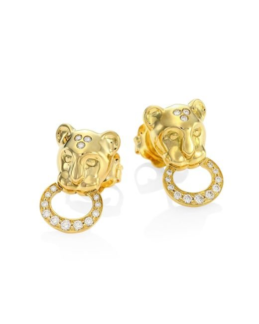 Temple St. Clair | Metallic Lion Cub Diamond & 18k Yellow Gold Stud Earrings | Lyst