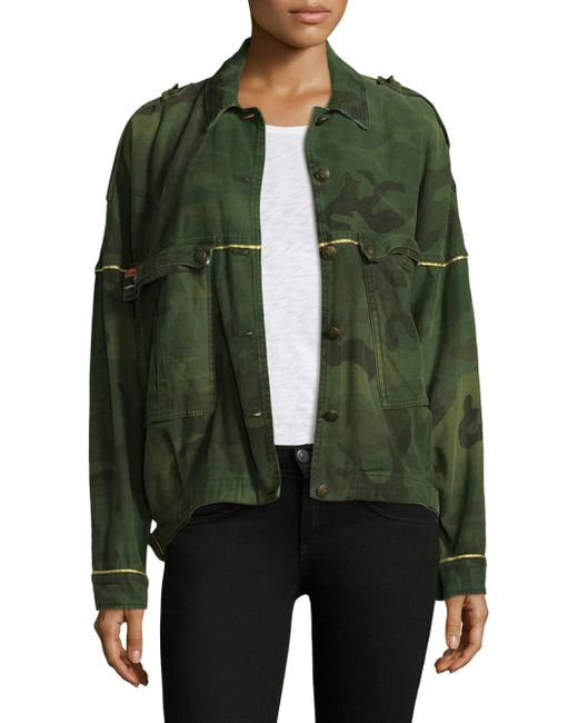 Free People | Green Slouchy Military Cotton Jacket | Lyst