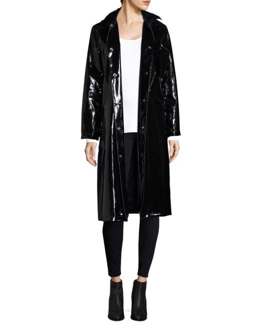 Jane Post | Black High Shine Slicker 3-button Long Coat | Lyst