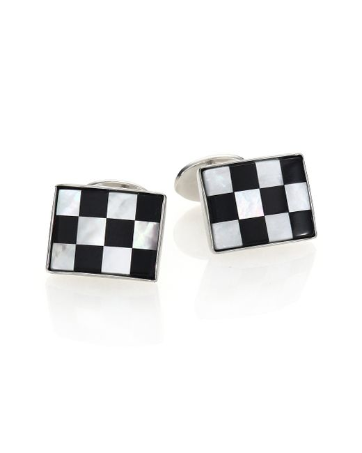 David Donahue | Black Sterling Silver, Onyx & Mother Of Pearl Checkered Cuff Links | Lyst