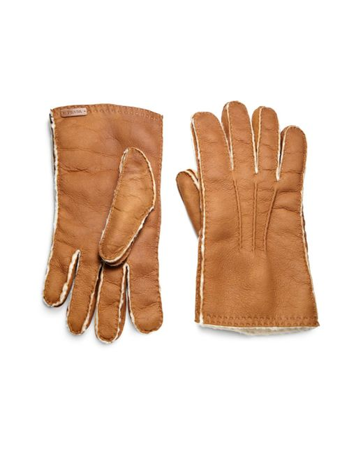 Prada | Brown Shearling Gloves for Men | Lyst