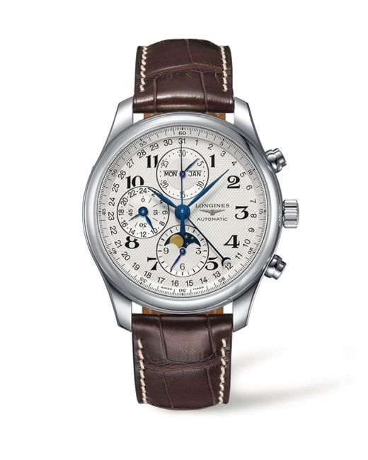 Longines stainless steel chronograph alligator leather strap watch in metallic for men lyst for Longines leather strap