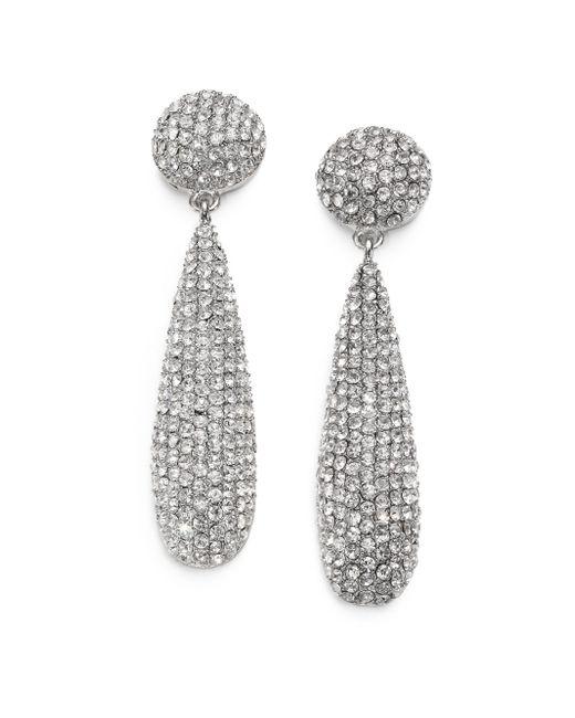 Kenneth Jay Lane | Metallic Pave Teadrop Earrings/silvertone | Lyst