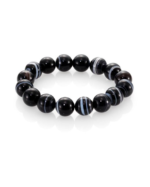 Nest | Black Line Agate Beaded Stretch Bracelet | Lyst