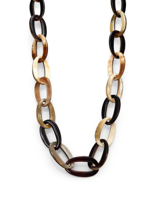 Nest | Brown Mixed Horn Link Necklace | Lyst