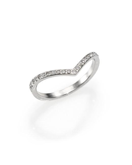 Vita Fede   Metallic Crystal Ultra Mini V Ring/silvertone   Lyst