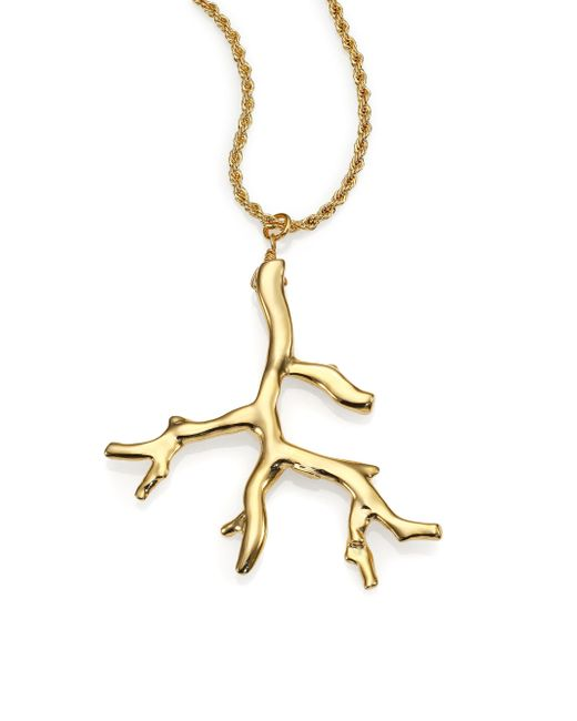 Kenneth Jay Lane | Metallic Branch Statement Pendant Necklace | Lyst