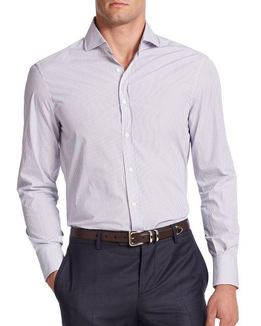 Brunello Cucinelli | Blue Ministriped Cotton Sportshirt for Men | Lyst