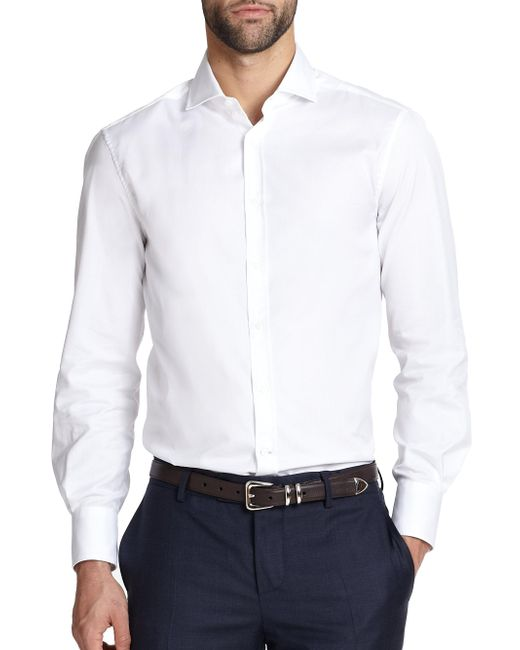 Brunello Cucinelli | White Jersey Collared Shirt for Men | Lyst