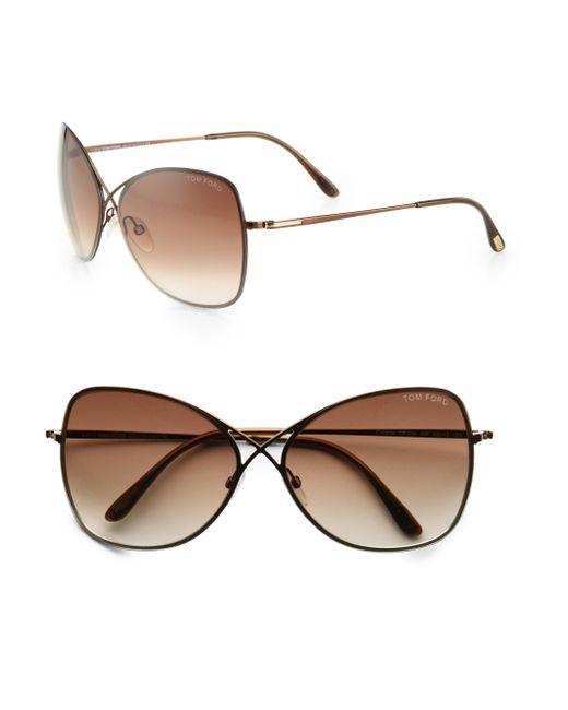 Rimless Aviator Sunglasses : Tom ford Colette Rimless Aviator Sunglasses in Brown for ...