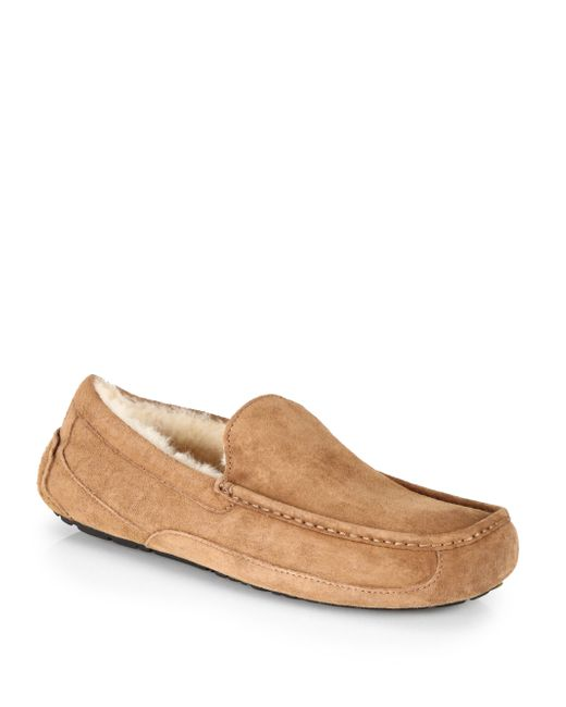 Ugg   Brown Ascot Suede And Shearling Slippers   Lyst