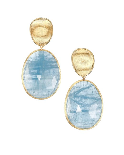 Marco Bicego | Metallic Lunaria Aquamarine & 18k Yellow Gold Large Drop Earrings | Lyst