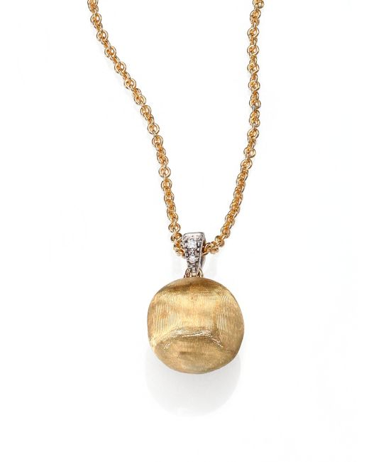 Marco Bicego | Metallic Delicati Diamond, 18k Yellow & White Gold Sphere Pendant Necklace | Lyst