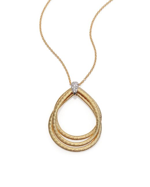 Marco Bicego | Metallic Cairo Diamond & 18k Yellow Gold Triple Teardrop Necklace | Lyst