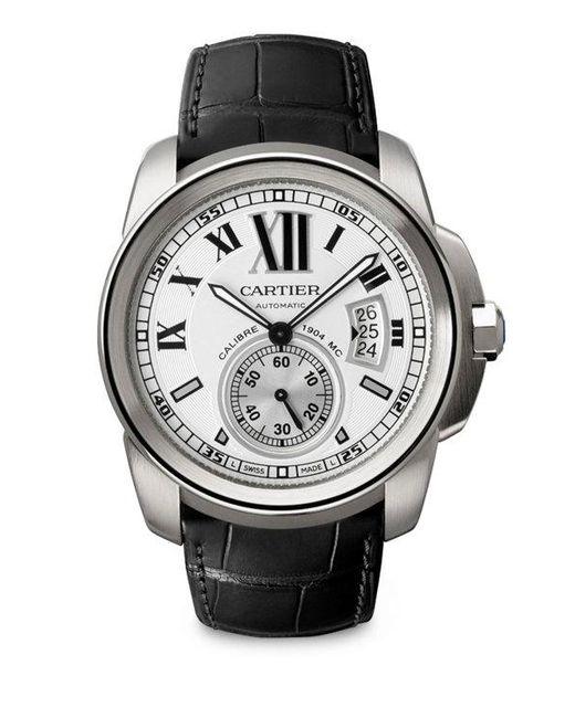 Cartier   Black Calibre De Stainless Steel & Alligator Strap Watch   Lyst