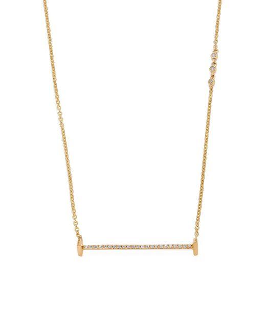 Paige Novick - Metallic Sasha Diamond & 18k Yellow Gold Small Flat Bar Necklace - Lyst