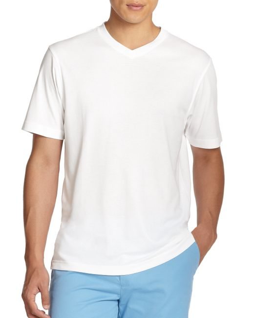 Saks Fifth Avenue | White V-neck Tee for Men | Lyst