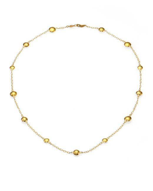 Gurhan | Metallic Lentil 24k Yellow Gold Mini Station Necklace | Lyst