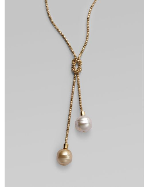 Majorica | 14mm White and Champagne Baroque Pearl Lariat Necklace | Lyst