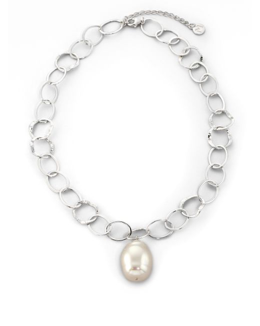 Majorica | 22mm White Baroque Pearl & Sterling Silver Chain Drop Pendant Necklace | Lyst
