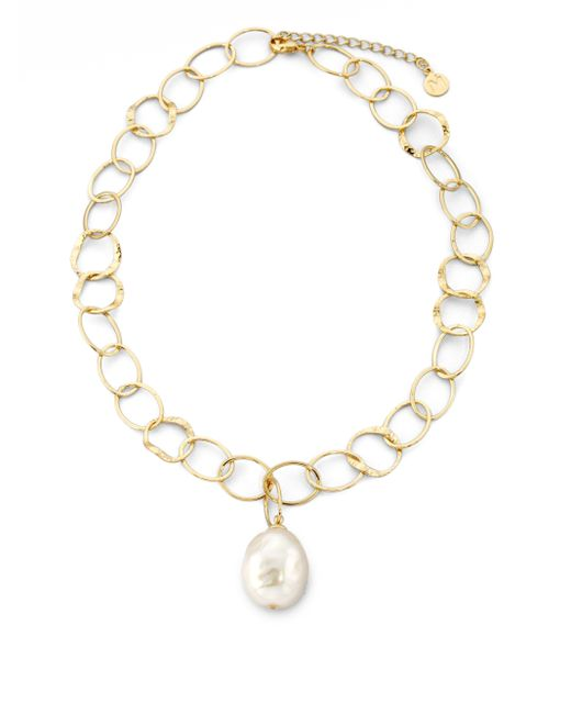 Majorica | 22mm White Baroque Pearl Mixed-link Pendant Necklace | Lyst