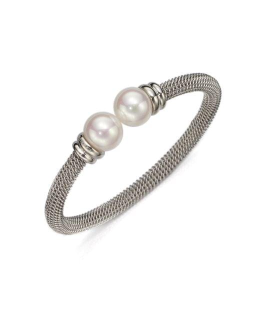 Majorica   Metallic 12mm White Pearl Tipped Bracelet/silvertone   Lyst