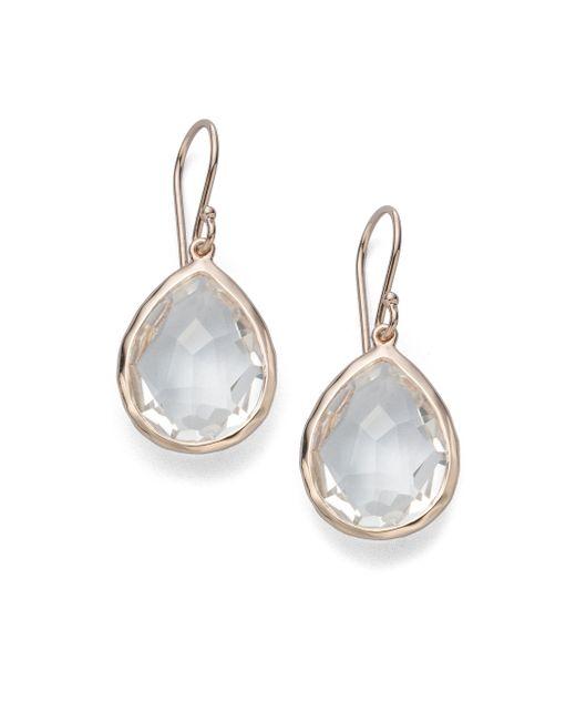 Ippolita | Metallic Rose Rock Candy Clear Quartz Teardrop Earrings | Lyst